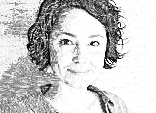 A stylized headshot of Heather