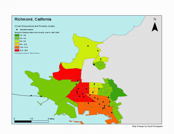 This map shows the correlation between homicide and poverty in the city of Richmond.
