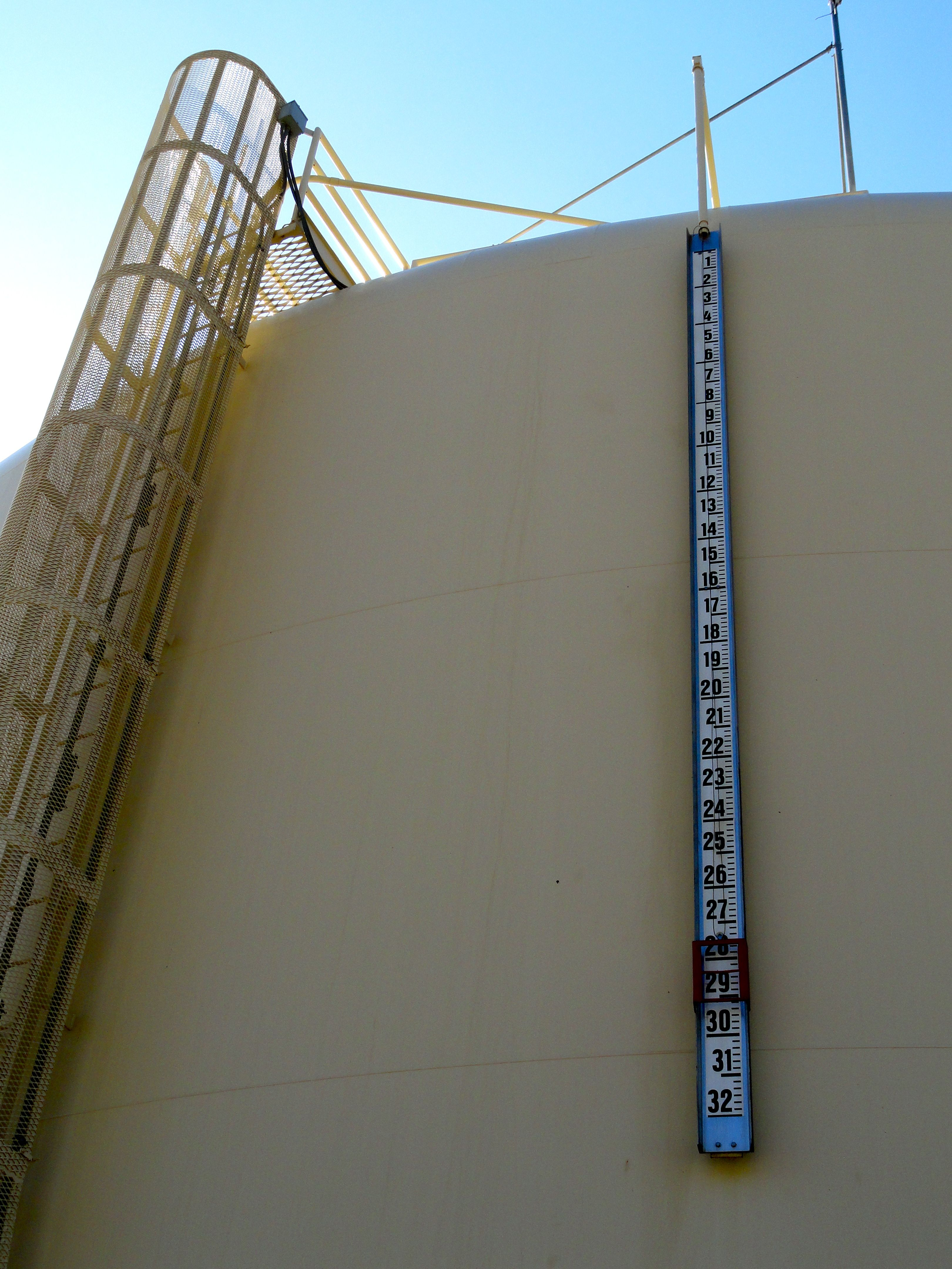 A gauge on a Kerman water tank shows the tank is nearly full.